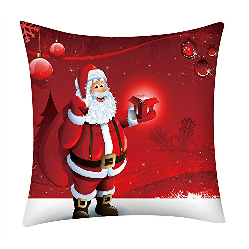 Bauycy Weihnachten Kissenhülle Kissenbezug Frohe Weihnachten Print Kissenbezug Polyester Sofa Car...