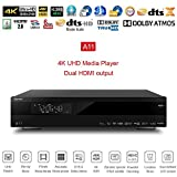 "Egreat A11 Android Smart TV Box 4K UHD HDMI Lecteur multimédia 3.5"" HDD Bay IR Control Media Player with Built in WiFi Antenna Ethernet BT4.0 SATA 1000M LAN H.265 RS232 Boîtier TV"