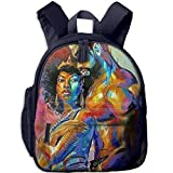 Lovely Schoolbag African American Lovers Couple Painting Double Zipper Waterproof Children Schoolbag Backpacks with Front Pockets for Youth
