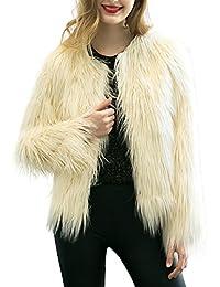 Simplee Apparel Damen Winter Warme Elegant Luxuriös Kunstfell Dick Fell  Mantel Weiß Beige Schwarz Rosa 2772e6fd7e