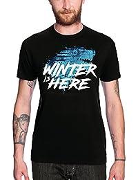 Elbenwald Invierno Está Aquí Camiseta para Hombre del Negro Stark para el Juego de Tronos Ventiladores