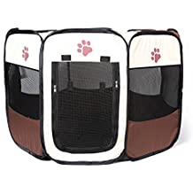YOUJIA Parque de Juego Entrenamiento y Dormitorio Mascotas Perro Gato Portable Casa (Marrón, S)
