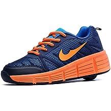 Zapatillas con ruedas automáticas para niños. Negro - Naranja.