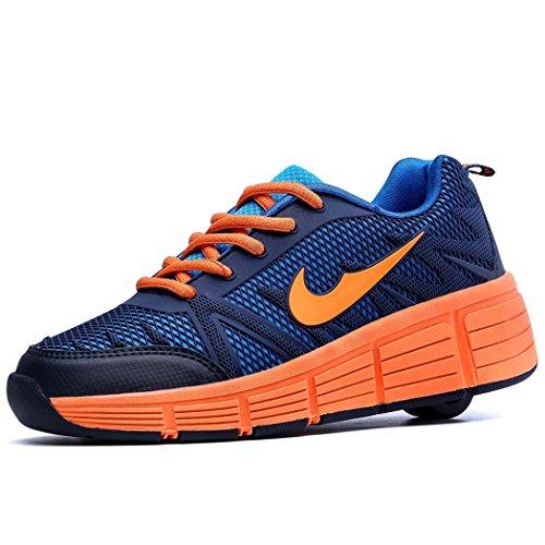 Sneakers mit automatischen Rollen für Kinder. Schwarz - Orange. 31