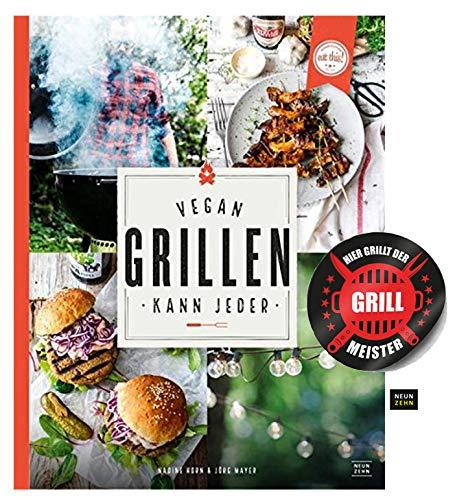 NeunZehn Verlag Vegan Grillen kann jeder Gebundenes Buch + Grillmeister Sticker by Collectix Horn Dessert