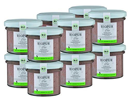 BIOPUR Bio Diätfutter bei Struvit-Harnsteinen für Katzen 12x100g -
