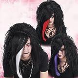 Produktbild von Schwarze Gothic Emo Perücke weiße Strähne Punker