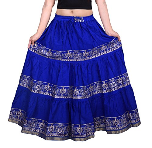 Decot Paradise Women's Cotton Skirt (DL3121__Blue_Free Size)