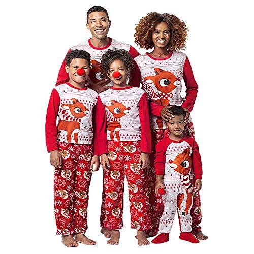 Riou Weihnachten Set Baby Kleidung Pullover Pyjama Outfits Set Familie Frohe Weihnachten Streifen Print Trainingsanzug Familie passende Kleidung Outfits (80, Baby Rot)