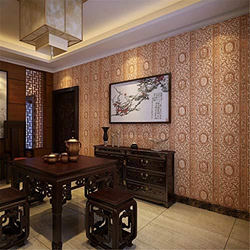 BAIF Klassische Tapete/Tapete mit Holzschnitzereiimitat/Fensterscheibe/Wohnzimmer, Arbeitszimmer, Xuan Guan, TV-Hintergrundwand/verdickte Tapete, 0,53 * 10 m, Gelb WEIQI -