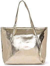 4359885cda9cdf PU Leder Handtasche Damen Gross, OURBAG Schultertasche Damen Handtasche  Silber rosa…