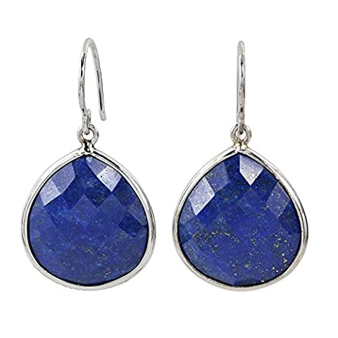 La Luna Design Damen-Ohrhänger Ohrhaken Sterling-Silber 925 rhodiniert lapislazuli Lapis Lazuli