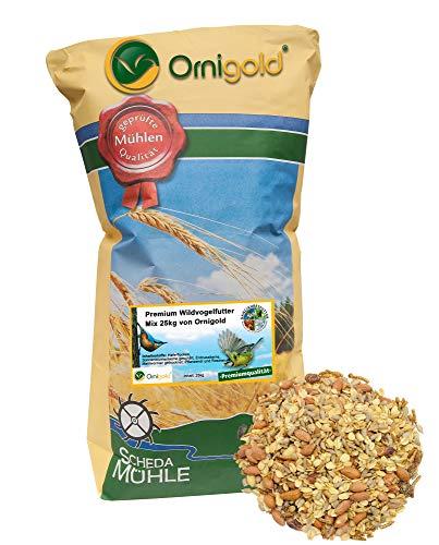 Ornigold Premium Wildvogelfutter Mix 25 kg schalenfreie Vogelfutter mit Insekten für Wildvögel:...
