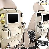 Organizador de asiento trasero de coche con bandeja de mesa para bebé de piel sintética plegable mesa de comedor escritorio y iPad mini soporte (Beige)