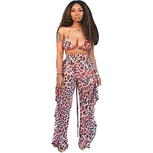 LUKUCEA Sexy Frauen_ Sommer Durchbrochenen Bikini gekräuselte Hose mit weitem Bein Zweiteilige Beachwear mit Höschen Bedruckt Net Fashion Casual Anzug Frühling und Herbst Sportbekleidung,4#Leopard,XL -