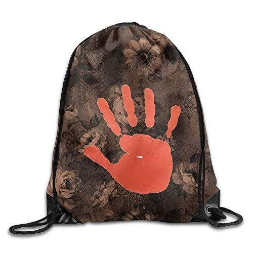 FTKLSS Lightweight Foldable Large Capacity Gym Drawstring Bag Backpack Red Hands Sack Bag Sport Bag for Men