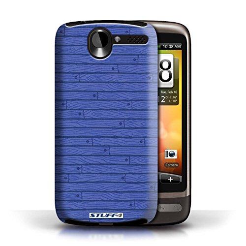 Kobalt® Imprimé Etui / Coque pour HTC Desire G7 / Turquoise conception / Série Motif Bois Bleu