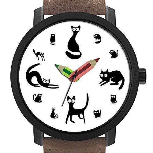 Geschenk für Erwachsene   Kinder   Geburtstag   Stilvolle niedliche Armbanduhr mit Bleistift Form Pointer Ornament Geschenk 113.Cats Watch -