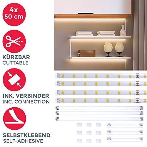 Striscia LED 2m, set di 4 pezzi da 50cm, Luce bianca naturale 4000k, Include connettori, interruttore e spina europea, uso interno, Accorciabili, Adesive, per soggiorno cucina camera da letto, IP20