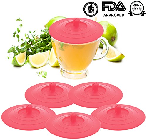 Silikon Cup Deckel-rund Tasse Coffee Cup Kappen, Dichtung Air Tight Hot & Cold Drink Cup Deckel, Tee & Wine Glas Tasse Abdeckungen, auslaufsicher Saugnapf lids- Set von 5 rose -