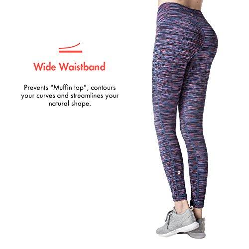 Lapasa Legging Pantalon de Sport Femme Yoga Fitness Gym Pilates Gaine large Pourpre multi-teintes