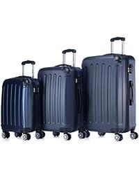 BEIBYE 3 tlg.Kofferset 2045 Reisekofferset Koffer Trolley Hartschale in 12 Farben (Dunkelblau)