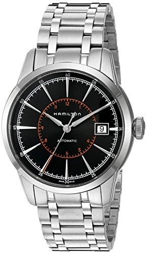 Hamilton Men's 40mm Steel Bracelet & Case Anti Reflective Sapphire Automatic Black Dial Watch H40555131