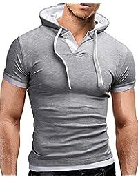 Hombre Camisetas de Manga Cortas con Capucha Sudadera