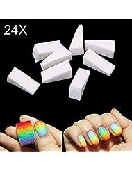 Hrph 24pcs Eponges de Nail Art Estampage Transfert de Modèle Outil à Ongles Bricolage Manucure Professionel