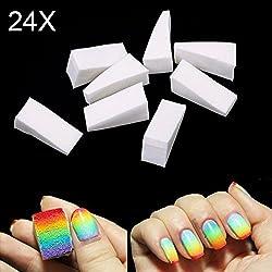 ROKOO 24pcs Eponges de Nail Art Estampage Transfert de Modèle Outil à Ongles Bricolage Manucure Professionel