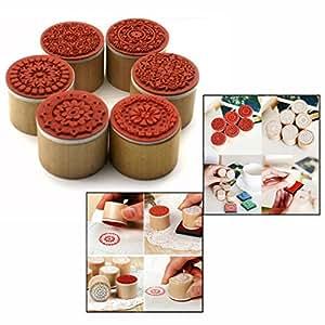 Gearmax® Motivo 6pcs floreale rotonda di gomma di legno Timbro