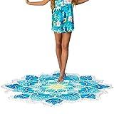 iBaste Strandtuch mit Quaste und Lotus Blumen Strand-Schal Tapestry Tischdecke Picknickdecke Schal, Blau