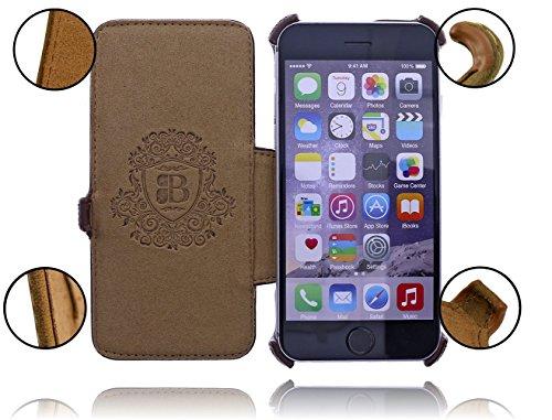 Burkley Apple iPhone 6 / iPhone 6S Hülle | Tasche | Lederhülle | Handyhülle | Ledertasche | Handytasche | Schutzhülle | Flip Cover | Book Case | bruchfester Innenschale | Kartenfach (Dunkel Braun) Heated / Kaffee Braun