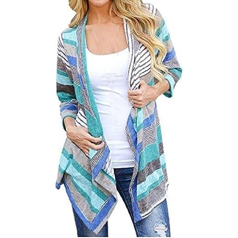 Sannysis® Irregular Stripe mantón Cardigan Tops para las mujeres (M)