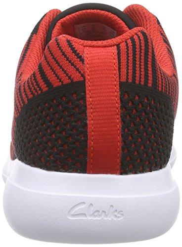 Clarks Kids Sprintknit Jnr, Baskets Basses garçon Rouge (Red Combi)