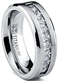 Ultimate Metals Anillo de Matrimonio Titanio Para Hombre, Alianaza de Boda Con Circonitas Talla Princesa 8mm