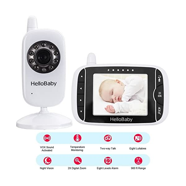 "HelloBaby Video Baby Monitor, 3.2"" Color LCD Screen with VOX Sound Activate Night Vision & Temperature Sensor, Two-Way Talkback System, White Camera (HB32) hellobaby 3.2 INCH LCD DISPLAY WITH ENHANCED 2.4GHZ TECHNOLOGY - The video baby monitor has a 3.2 Inch screen to show baby as you need , with 2.4GHz FHSS wireless transmission for 100% privacy and security.range up to 960ft without barriers. It is more convenient than IP camera. VOX FUNCTION - You do not have to pegged to the screen for long periods of time to avoid any unexpected omissions and no worries that babies will not be alerted during standby. Vox models can also save the battery power so as to length your use time. 8 LULLABIES PLAYING & NIGHT VISION FUNCTION - There are eight different soft lullabies to appease your baby when she is sleeping or waking up suddenly. Night vision camera allows you to clearly keep an eye on your baby's movements both day and night. 3"