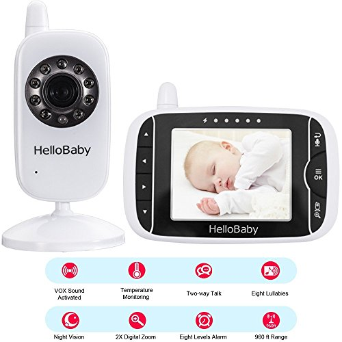HelloBaby HB32 Wireless Video Babyphone mit Digitalkamera, Nachtsicht Temperaturüberwachung & 2 Way Talkback System,Weiß - 7