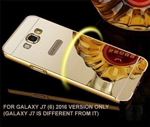 BRAND FUSON Luxury Metal Bumper + Acrylic Mirror Back Cover Case For Samsung Galaxy J7 (6) 2016 GOLD PLATED