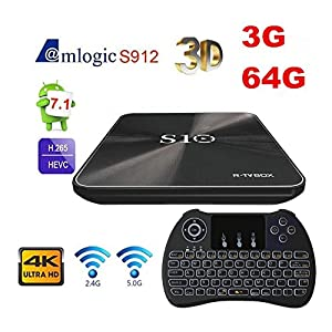 [Backlit keyboard] Android TV BOX 7.1,R-TV BOX S10 3GB DDR4 & 64GBSmart BOX with Amlogic S912 Octa Cora Flash Support 4K HD Playing WIFI Bluetooth 4.1 OTA Function