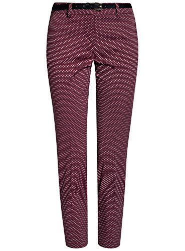 oodji Collection Donna Pantaloni in Jacquard con Cintura Rosso (4973D)