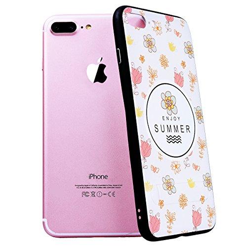 SMART LEGEND iPhone 7 Plus Hülle mit Standfunktion Schutzhülle mit Frucht Obst Muster Shiny Tasche Skin Schale Hart PC Backcover Case für iPhone 7 Plus Hartschale Handy Tasche - Kiwi Blumen