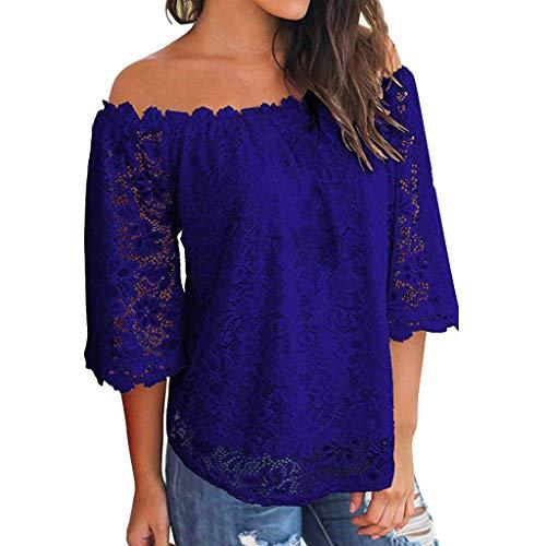 Zegeey Damen Oberteile T-Shirt Kurzarm Aus Festem Spitzen-Patchwork AushöHlen Bluse Top Sommer Shirt(X23-Dunkelblau,EU-36/CN-S)