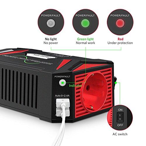 BESTEK 300W Convertisseur PUR SINUS 12V 220V 230V Transformateur de Tension pour Voiture Onduleur 12V avec Double Ports USB, Prise Européenne, Ventilateur Intégré, Pieds Antidérapants, Indicateur LED, Interrupteur, 6 Protections Sûre