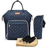 Multifunción pañal bolsa de pañales cambiador de viaje, gran capacidad mochila bolsa reutilizable, ligero elegante Durable Mochila con bolsillo botella aislante para mamá y papá