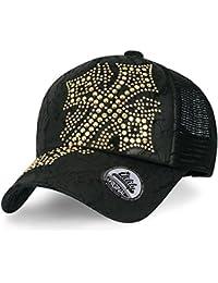 ililily Cross Shaped Rhinestone Studded Hat Faux Leather Mesh Baseball Cap