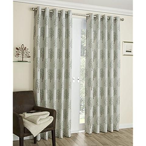 Diseño del árbol - de lino, aceite de nuez, de bloquear termal, una mayor vida cortinas - (salvia MULBRY), Verde, 53