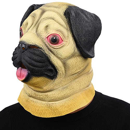 Party Story Halloween Maske latex Mops - HundTiermaske Kostüm (Latex Maske Voll Adult)