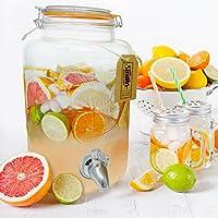 Smiths Mason Jars Dispensador de bebidas de 5 litros con espita de acero, sin malla