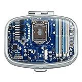 Blau Computer Motherboard Prozessor CPU Rechteck Pille Fall Schmuckkästchen Geschenk-Box